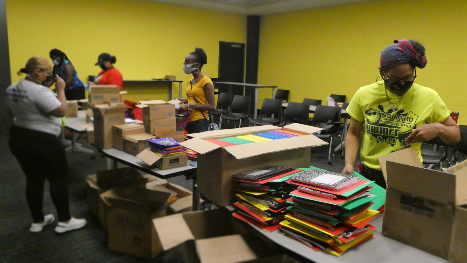 Educational materials at Lenfest Center with staff and volunteers