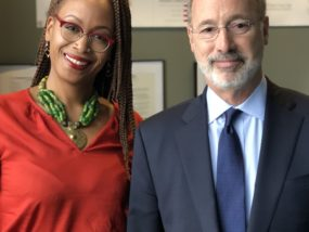 Michelle Taylor, Director of Community Partnerships & Strategy at North 10, with Gov. Wolf