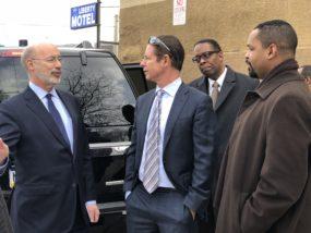 Gov. Wolf, Lenfest, Councilman Clarke, and State Senator Sharif Street