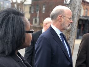 Lenfest Center Director of Operations, Latesha Sims, leads Gov. Wold on tour of a site